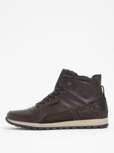 Sivo-hnedé pánske kožené členkové topánky s umelou kožušinou Bullboxer