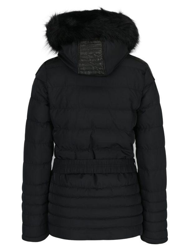 Čierny dámsky krátky prešívaný kabát s kapucňou a opaskom Cars Cler