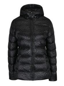 Čierna dámska prešívaná vzorovaná bunda s kapucňou Cars Metti