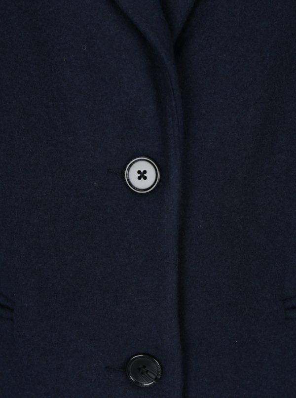 Tmavomodrý dlhý kabát s prímesou vlny VERO MODA Blaza
