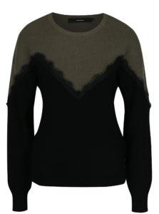 Zeleno-čierny sveter s čipkovanými detailmi VERO MODA Smilla