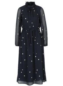 Tmavomodré vzorované šaty s priesvitným rukávom VERO MODA Dina