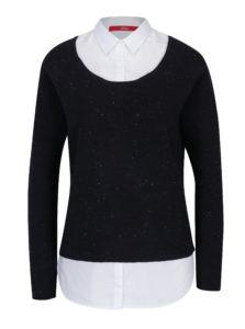Tmavomodrý dámsky melírovaný sveter so všitou košeľou 2v1 s.Oliver