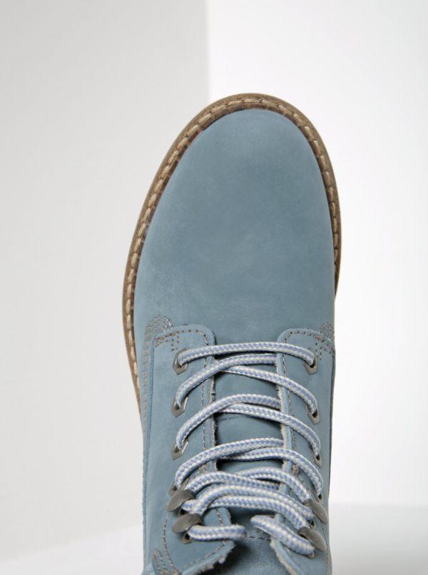 Svetlomodré kožené členkové topánky Tamaris