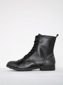 Čierne členkové topánky so vzorovanou špičkou s metalickými odleskmi Tamaris