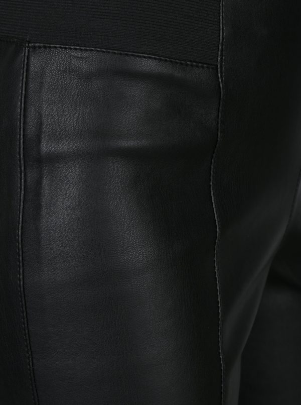 Čierne koženkové legíny VERO MODA Siva