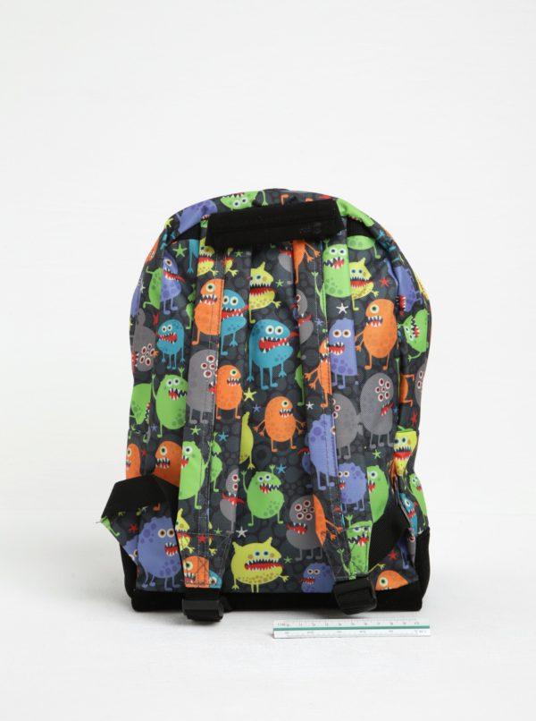 Čierno-sivý detský batoh s potlačou príšeriek Mi-Pac Mini Monsters