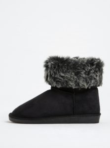Čierne zimné členkové topánky v semišovej úprave Pieces Parrisa
