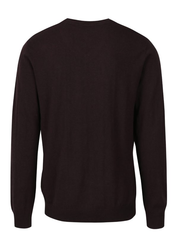 Vínový pánsky tenký sveter s véčkovým výstrihom Broadway Maison