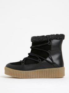 Čierne zimné kožené členkové topánky s kožušinkou Pieces Paccia