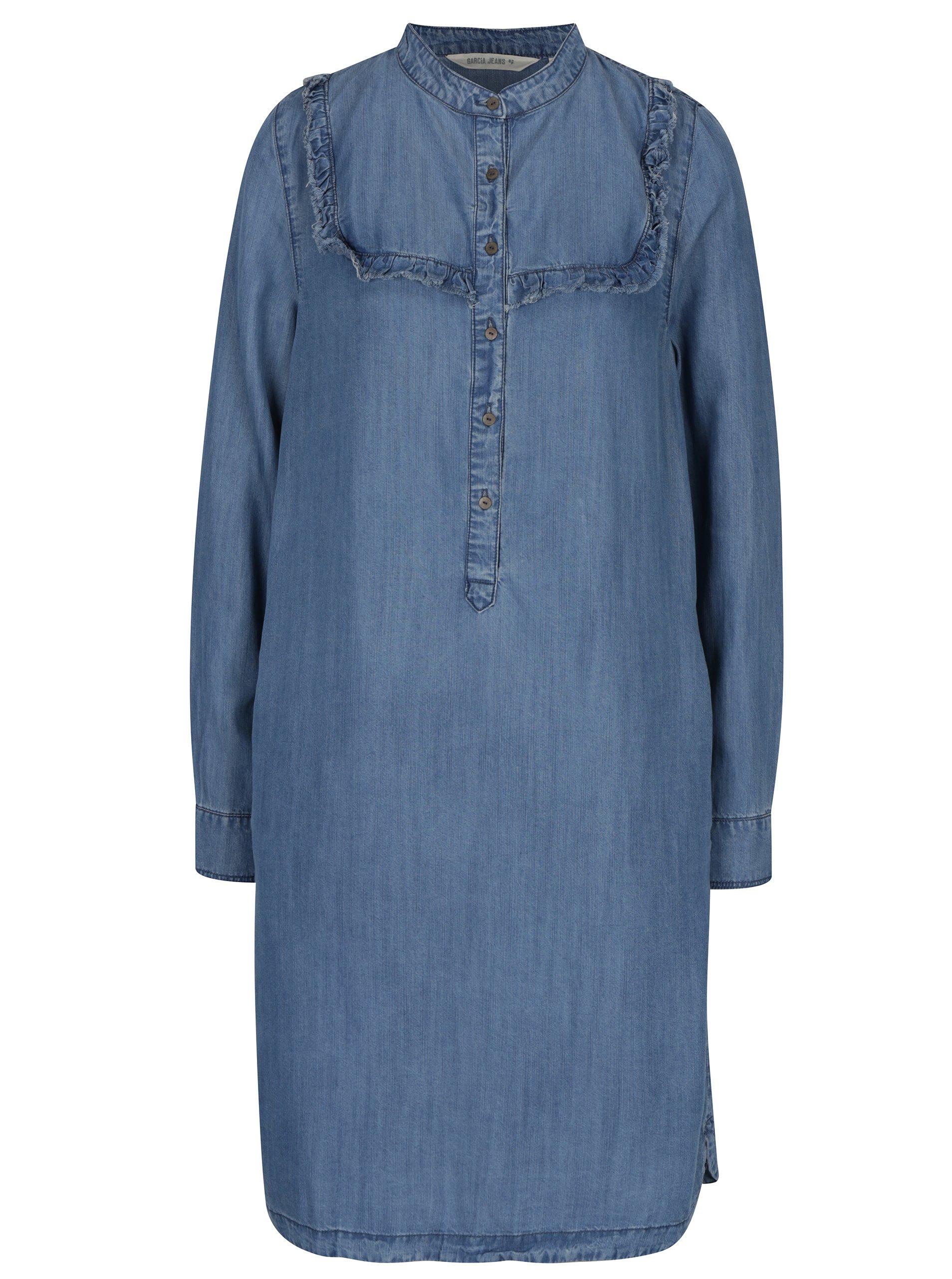 c5e4e85d0f53 Svetlomodré rifľové košeľové midi šaty Garcia Jeans