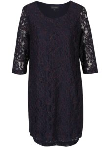 Tmavomodré čipkové šaty s 3/4 rukávom Broadway Maude