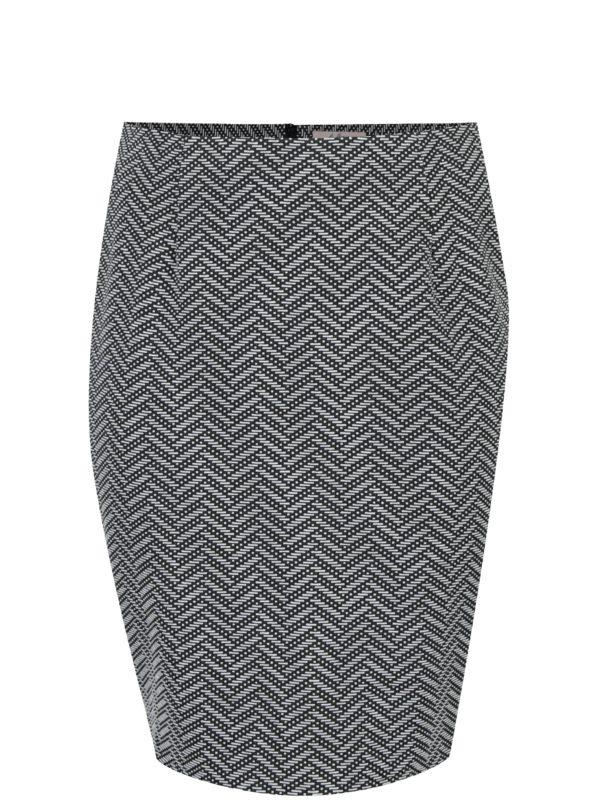 Bielo-čierna vzorovaná puzdrová sukňa LA Lemon