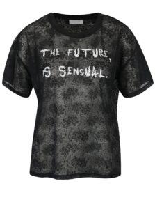 Čierne tričko s potlačou VILA Utti