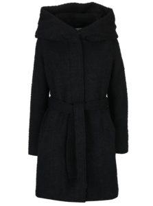Čierny zimný kabát s prímesou vlny a kapucňou VILA Cama