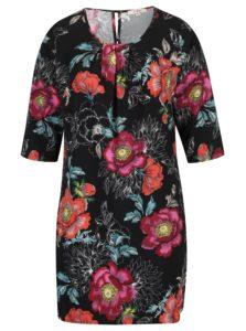 Čierne kvetinové šaty s 3/4 rukávom LA Lemon