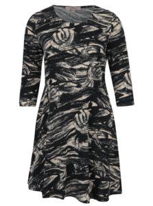 Krémovo-čierne vzorované šaty s 3/4 rukávom LA Lemon
