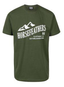Zelené pánske tričko s krátkym rukávom a potlačou Horsefeathers Ripple