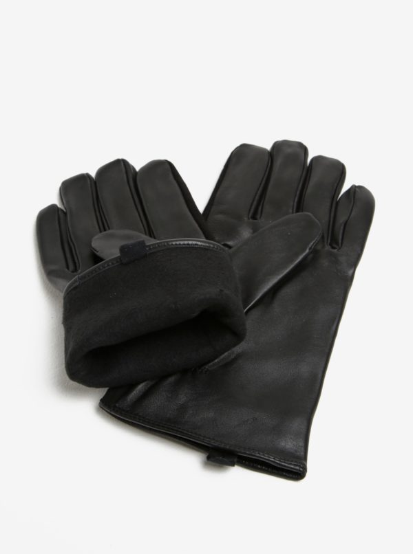Čierne semišové rukavice Selected Homme Eric
