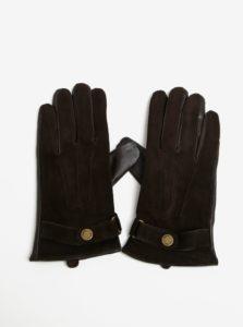 Hnedé semišové rukavice Selected Homme Eric