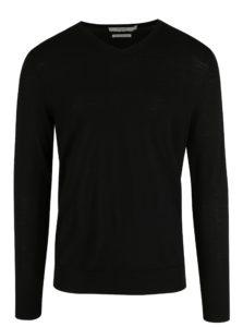 Čierny vlnený sveter s véčkovým výstrihom Jack & Jones Premium Mark