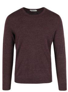 Vínový melírovaný vlnený sveter Jack & Jones Premium Mark