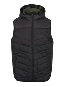 Čierna prešívaná vesta s kapucňou Jack & Jones Moss