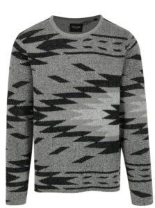 Čierno-sivý vzorovaný sveter ONLY & SONS Hadar