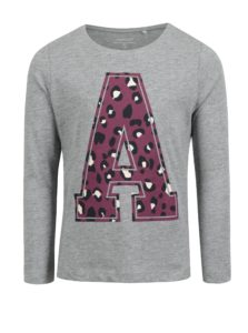 Sivé melírované dievčenské tričko s potlačou name it Veen