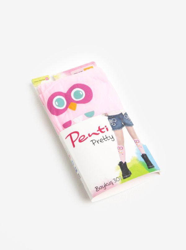 Ružové dievčenské pančucháče s motívom sovy Penti Baykus 30 DEN