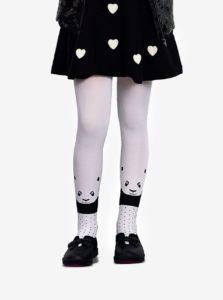 Biele dievčenské pančucháče s motívom pandy Penti Panda Head 40 DEN