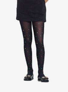 Čierne dievčenské pančucháče s plastickými krúžkami Penti Staples 40 DEN