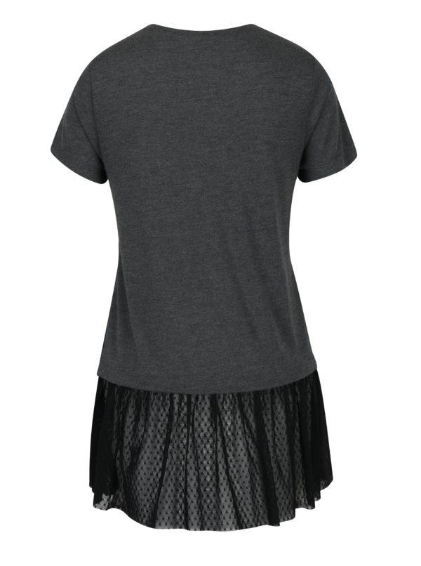 Sivé tričko s tylovým spodným lemom Haily´s Rosy