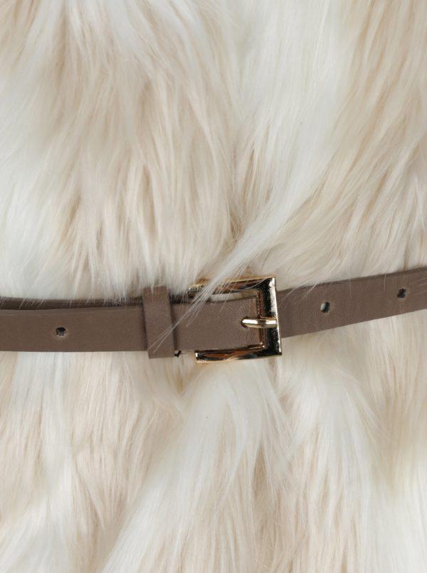 Krémová vesta s umelým kožúškom a opaskom Haily´s Tyra