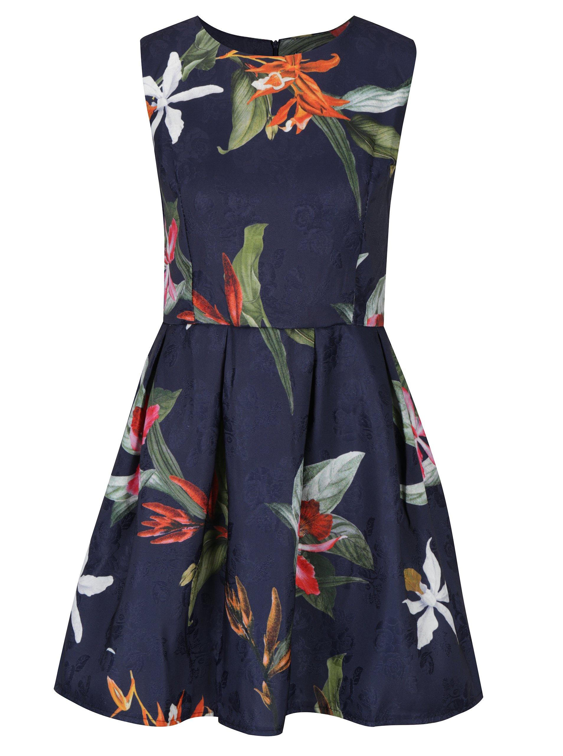 Tmavomodré šaty s prekladanou sukňou Haily´s Saskia  6bbf5ae542f