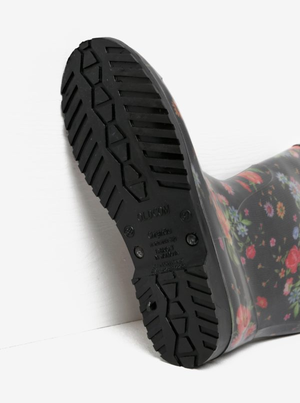 Čierne dámske kvetované gumáky Oldcom Rain