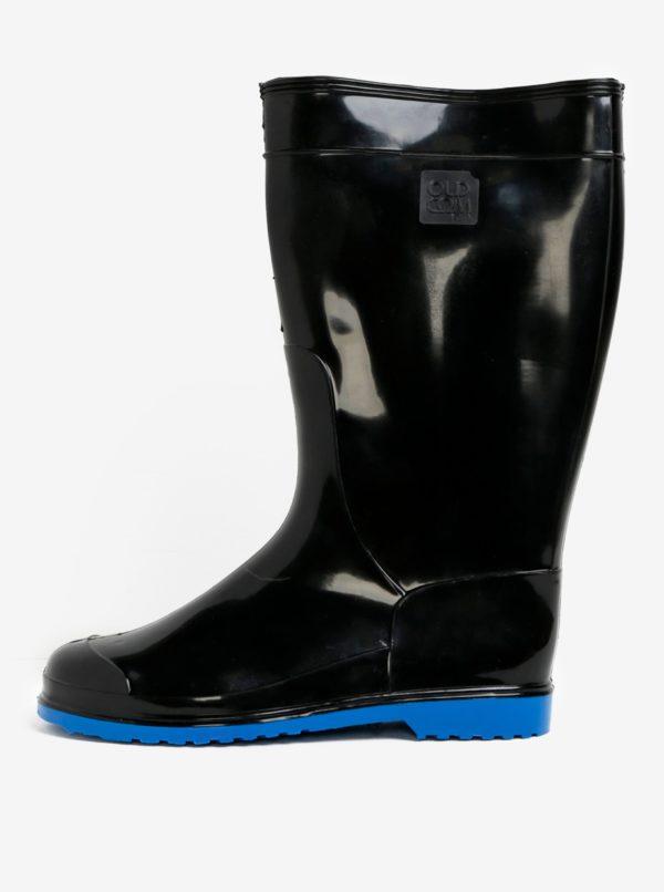 Čierne dámske gumáky s podrážkou v modrej farbe Oldcom Accent