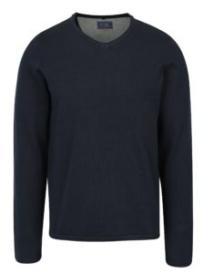 Tmavomodrý tenký sveter s véčkovým výstrihom Blend