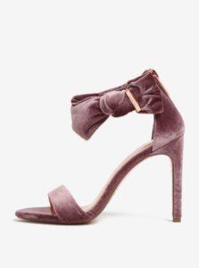 Ružové zamatové sandáliky na podpätku s mašľou Ted Baker Torabel