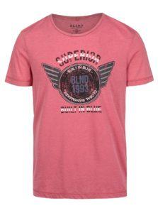 Ružové pánske melírované slim fit tričko s potlačou Blend