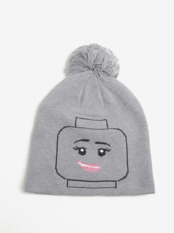 Sivá dievčenská čapica s brmbolcom Lego Wear Alexa