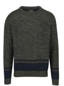 Tmavozelený melírovaný slim fit sveter Blend