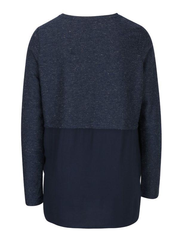 Tmavomodré melírované tričko s potlačou VERO MODA Sasha