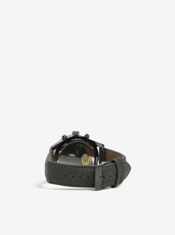 Čierne hodinky so sivým remienkom Blend