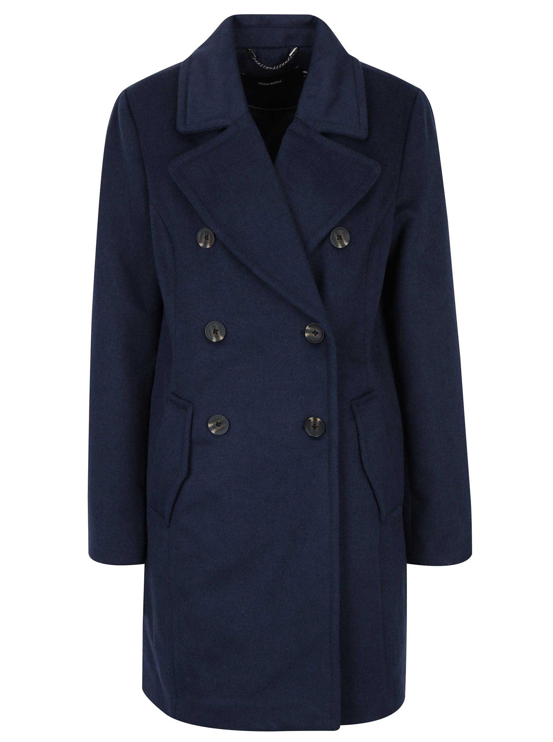 Tmavomodrý kabát s prímesou vlny VERO MODA Pisa  b715c674fe9