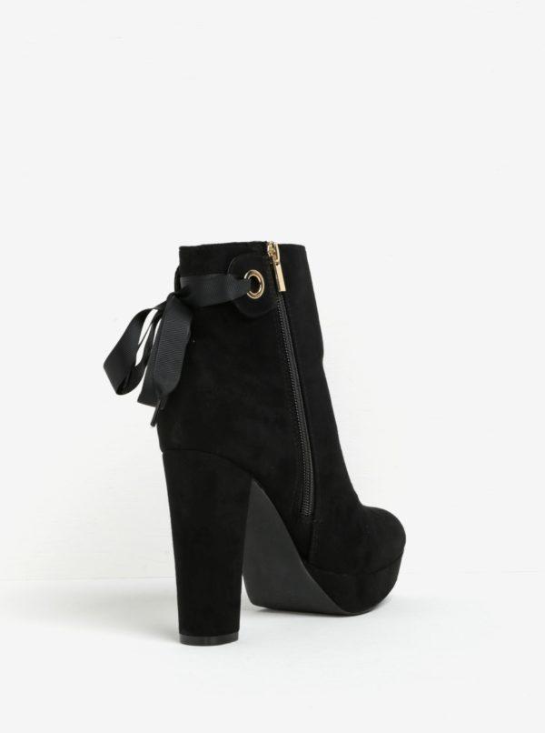 Čierne členkové topánky na podpätku a platforme v semišovej úprave Miss KG Sheree