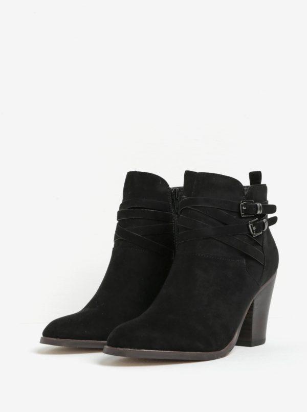Čierne členkové topánky na podpätku v semišovej úprave Miss KG Spike