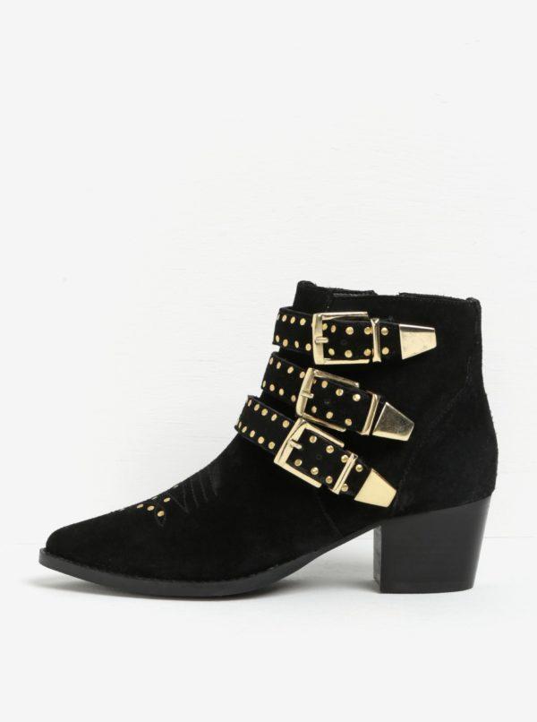 Čierne členkové semišové topánky s detailmi v zlatej farbe Miss KG Tiger