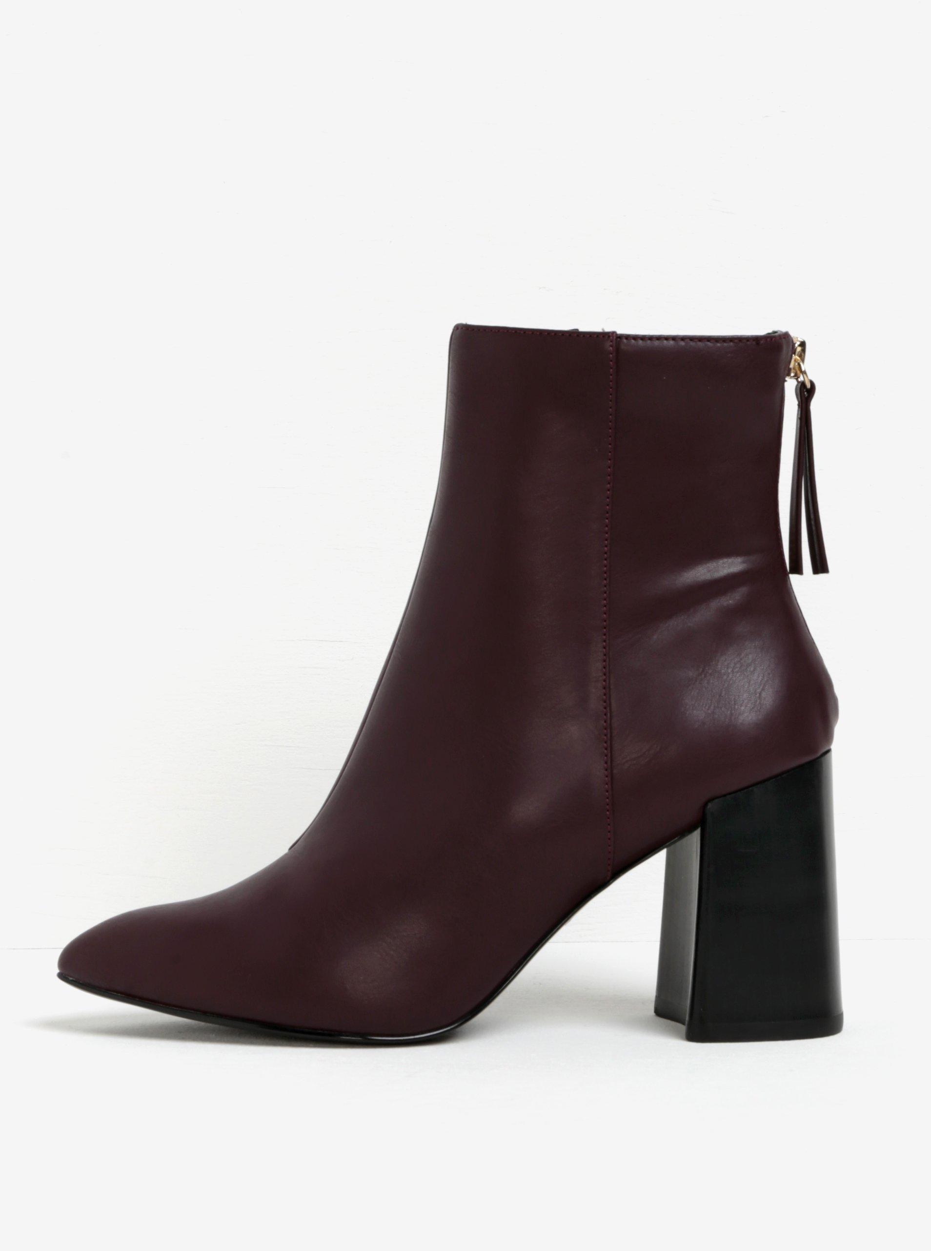 3947c9d5ad Vínové členkové topánky na širokom podpätku Miss KG Secret