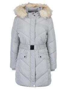 Sivý prešívaný kabát s opaskom Miss Selfridge